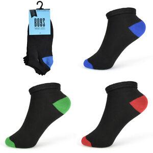 Boys 6 Pairs Trainer socks size 9 -12 12-3 4-6 Age 4-Teenage Coloured Heel