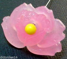 Vtg 20 PINK PRESSED GLASS occupied Japan ROSE FLOWER BEADS DEAD WQW #030510f