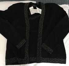 NWT DANA BUCHMAN Black Beaded Sweater Twin Set Small