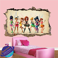 LITTLE PIRATE FAIRIES 3D SMASHED WALL STICKER GIRLS ROOM DECORATION DECAL MURAL
