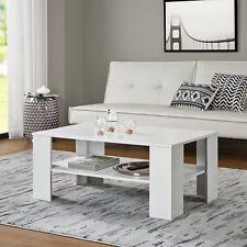 [en.casa]® Mesa de salón blanca 100x60cm, mesa auxiliar de madera, lacada mate