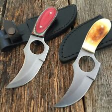 2 PC SET Hunting Skinning Knife Leather Sheath Survival Skinner New W/Sheaths E
