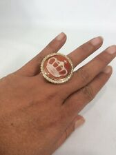 Statement Amedeo Cameo Crown Gold Tone ring Size 7