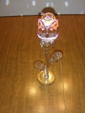 Banberry Designs Single Pink Rose and Gold Trim Flower Figurine