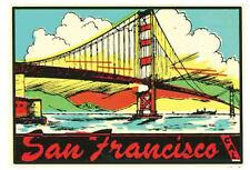 San Francisco, California  CA    Vintage-1950's  Style   Travel Sticker/Decal