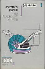 1989 SKI-DOO SAGA/SCOUT SNOWMOBILE OPERATORS MANUAL