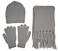 Men Women Unisex Soft Warm Winter 3 Piece Set Solid Knit Beanie Hat Gloves Scarf