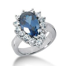 1.55 Carats Diamond and Sapphire Fancy Color Stone Ring 14k White Gold