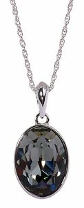 Crystals From Swarovski Black Diamond Oval Pendant Necklace Authentic 7177w