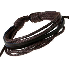 Fashion Men`s Leather Weave Button Band Wrist Hand Wrap Chain Bracelet Bangles