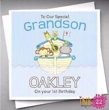 Personalised Noah's Ark Boys Birthday Card 1st, 2nd, 3rd Birthday Grandson, Son
