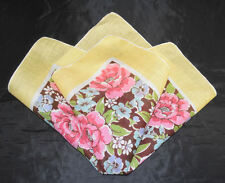 vintage handkerchief CHEERFUL HANKY sunny yellow edge and lovely flower center