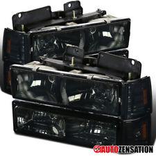 For 94-98 GMC C10 Sierra Yukon Suburban Smoke Headlights+Cornerl+Bumper Lamps