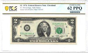 1976-D U.S. $2 - Federal Reserve Note - PCGS Banknote UNC 62 PPQ
