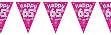 Pink Holographic Happy 65th Birthday Flag Bunting Decoration 12.8ft Long - New