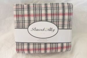 6 pc Peacock Alley Cotton Heathered Flannel Plaid King Sheet Set $215 NIP