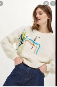 Topshop 'undone' unusual thread embroidery cream slouchy jumper size 16