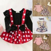 Toddler Baby Girl Ruffles Long Sleeve T-Shirt Tops+Suspender Skirts Outfit Set