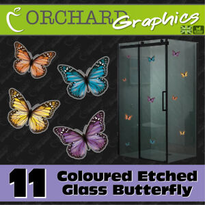 11 Butterfly Coloured Etched Glass Window Stickers SHOWER DOOR PATIO GREENHOUSE