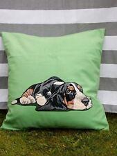 Green Dog Cojín Cubierta. Basset Hound, Cachorro, Terciopelo, Moderna