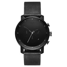 MVMT Chrono Black Leather Men's Watch - DMC01BL