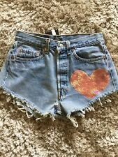 "Distressed Levi's Ibiza Denim Shorts With Sequin Heart. Size 12 Waist 30"".. NWT"