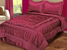Checkboard Shimmer Comforter Set Queen 4PC Burgundy Holiday Creative Linens 7196