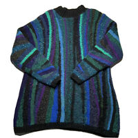 Vintage 80s 90s Coogi Like Vertically Striped Aquaberry Sweater Men's Size M