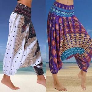 Women Boho Baggy Hippie Harem Aladdin Gypsy Gym Yoga Pants Palazzo Wide Trousers