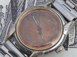 Roamer vintage burnt copper dial 40s WW2 ATP style early Swiss wrist watch