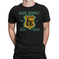 BLUES HIGHWAY Mens T-Shirt Route 66 Sign Music Trumpet Guitar Novelty