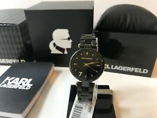 Karl Lagerfeld Women's Aurelie Black Stainless Watch KL5003 NEW IN BOX!!