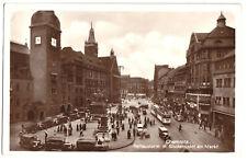 AK, Chemnitz, Markt mit Rathaus, belebt, Straßenbahn, 1927