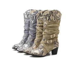 Women's Snakeskin Pattern Western Cowboy Buckle Leather Winter Mid Calf Boots WU