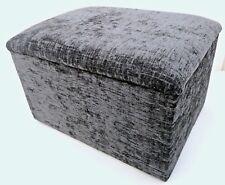 Footstool with storage in a grey chenille fabric