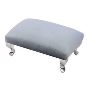 Large Footstool Sofa Foot Rest Pouffe Stool with Silver Chrome Queen Anne Legs