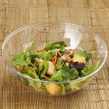 4 /pk Clear Round 32oz Plastic Disposable Salad Bowl Catering
