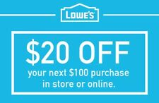 Lowes $20 Off $100 1COUPON-Fast Delivery-InStore And Online