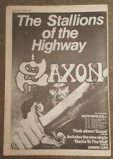 Saxon Backs to the Wall 1979 press advert Full page 30 x 42 cm mini poster