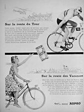 PUBLICITÉ DE PRESSE 1959 ASPRO SUR LA ROUTE DU TOUR DE FRANCE - VÉLO