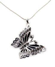 Schlangenkette, Kette, Halskette, grosser Schmetterling, Strass, grau/schwarz