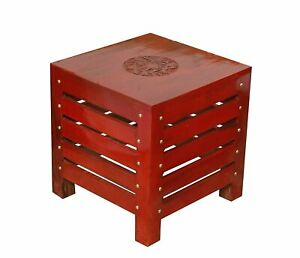 """Wooden Handcrafted Square Stool for Living Room Side Table 12"""""""