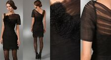 $398 BCBG Gossip Girl Black Rosette Lace Tulle Cocktail Dress Size 12 L Large