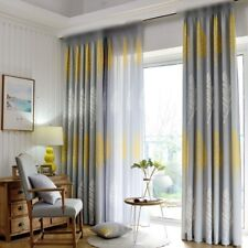 Yellow White Leaf Print Sheer Shading Cloth Curtains Pastoral Style Window Drape