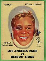 1954 OFFICIAL PROGRAM LOS ANGELES RAMS VS. DETROIT LIONS 24 PAGES - RARE