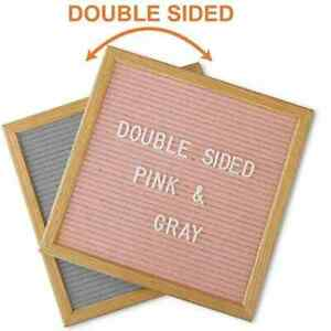 New DOUBLE SIDED LETTER BOARD 10x10 Gray/Pink Felt SOLID OAK FRAME +STAND w/ Box