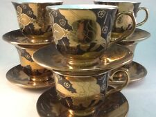 7 oz Coffee 12 Pc Cup Saucer Set Cappuccino Tea Coffee BLACK GOLD  #93601