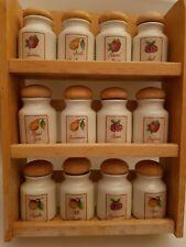 Vintage Style Wooden Spice Rack & 12 Porcelain Spice Jars From Debenhams