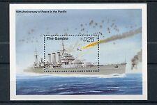 Gambia 1995 estampillada sin montar o nunca montada VJ de la Segunda Guerra Mundial Día 50th la paz en Pacific 1v S/S Barcos Buques de guerra sellos