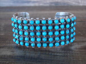 Native Américain Argent Sterling Turquoise Serti Bracelet Par Henry Sam